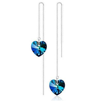 Hot Sale Heart Love Long Earrings For Women jewelry Blue Crystal Silver Color Luxury Wedding Party Drop Dangle Earrings