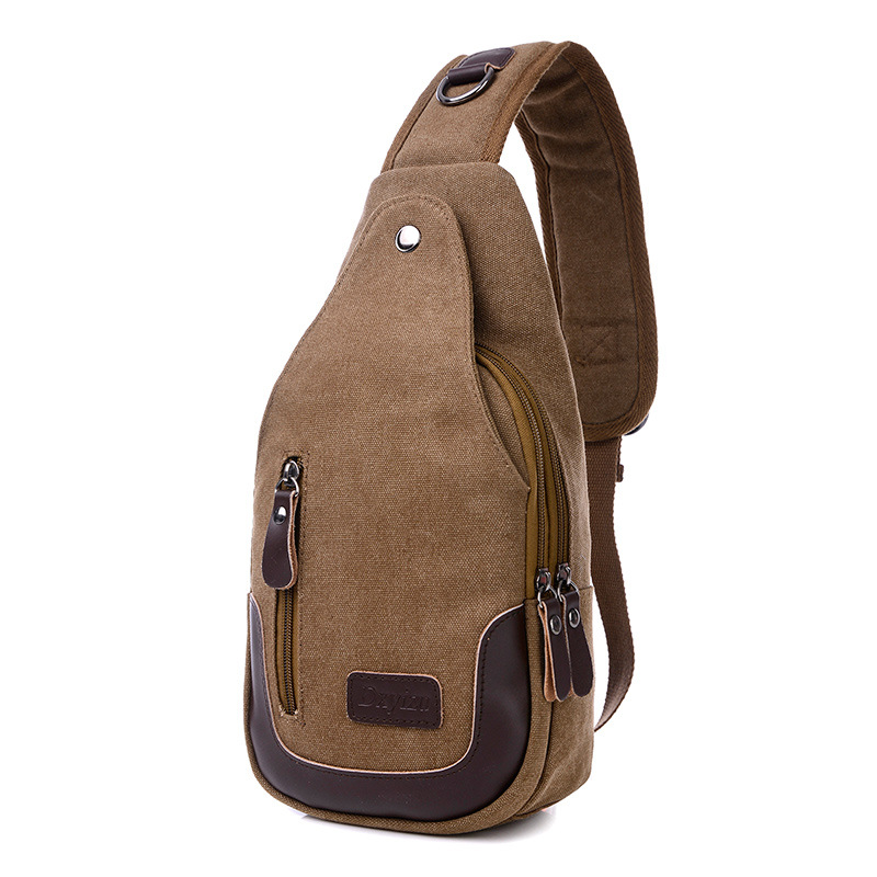 Casual Rugzakken Canvas Men Backpack Retro Vintage Male Student School Bags Man One Shoulder Backpack Chest Bags Triangle Bolsas
