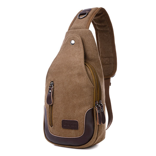 Casual Rugzakken Canvas Men Backpack Retro Vintage Male Student School Bags  Man One Shoulder Backpack Chest e82343145d1c7