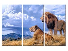 3 pieces / set Lion Canvas Printings Modern Painting On Animal world Wall Pictures For Home Decor