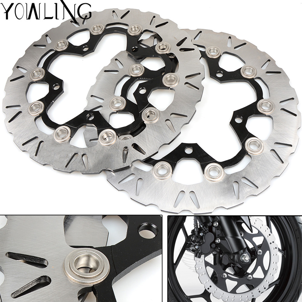One Pair CNC High quality Motorcycle Brake Rotors Floating Disc for SUZUKI GSR400 GSR 400 2006 2007 K6 K7 Motorcycle Accessories motorcycle high quality black cnc