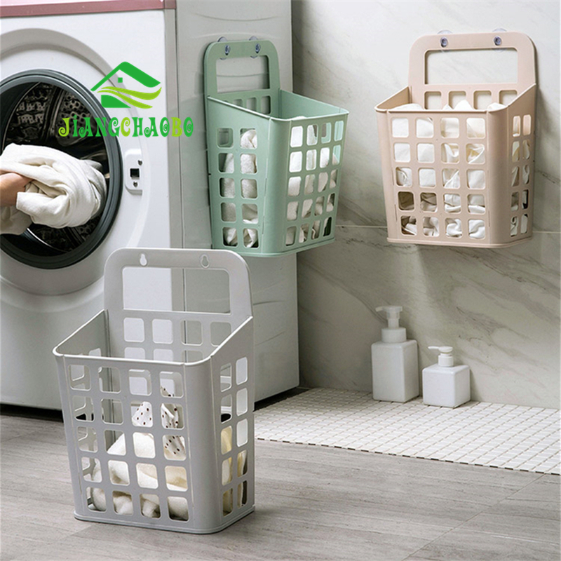 Folding Wall Hamper Foldable Storage Basket Bathroom Laundry Basket Dirty Clothes Storage Sucker Dirty Clothes Basket