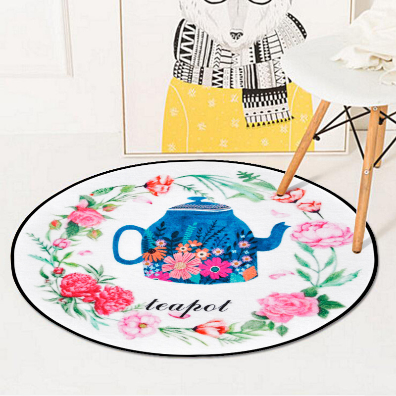 Chinese Flower Teapot Printed Circle Soft Carpet Bedroom Living Room Home Decor Round Kids Rug Thicken Non-Slip Design Floor Mat 1