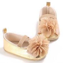 Princess Flower Infant Baby Girls PU Soft Sole first walker Sneaker Gold Bling Birthday shoes Prewalker