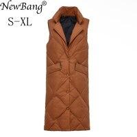 NewBang Brand Winter Long Vest Women Thick White Duck Down Vests Female Silm Long Sleeveless Windproof Warm Waistcoat