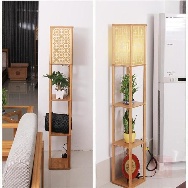Free Shipping Creative Vertical Storage Rack Floor Lamp Standing Table Minimalist Rustic Fabric Sofa