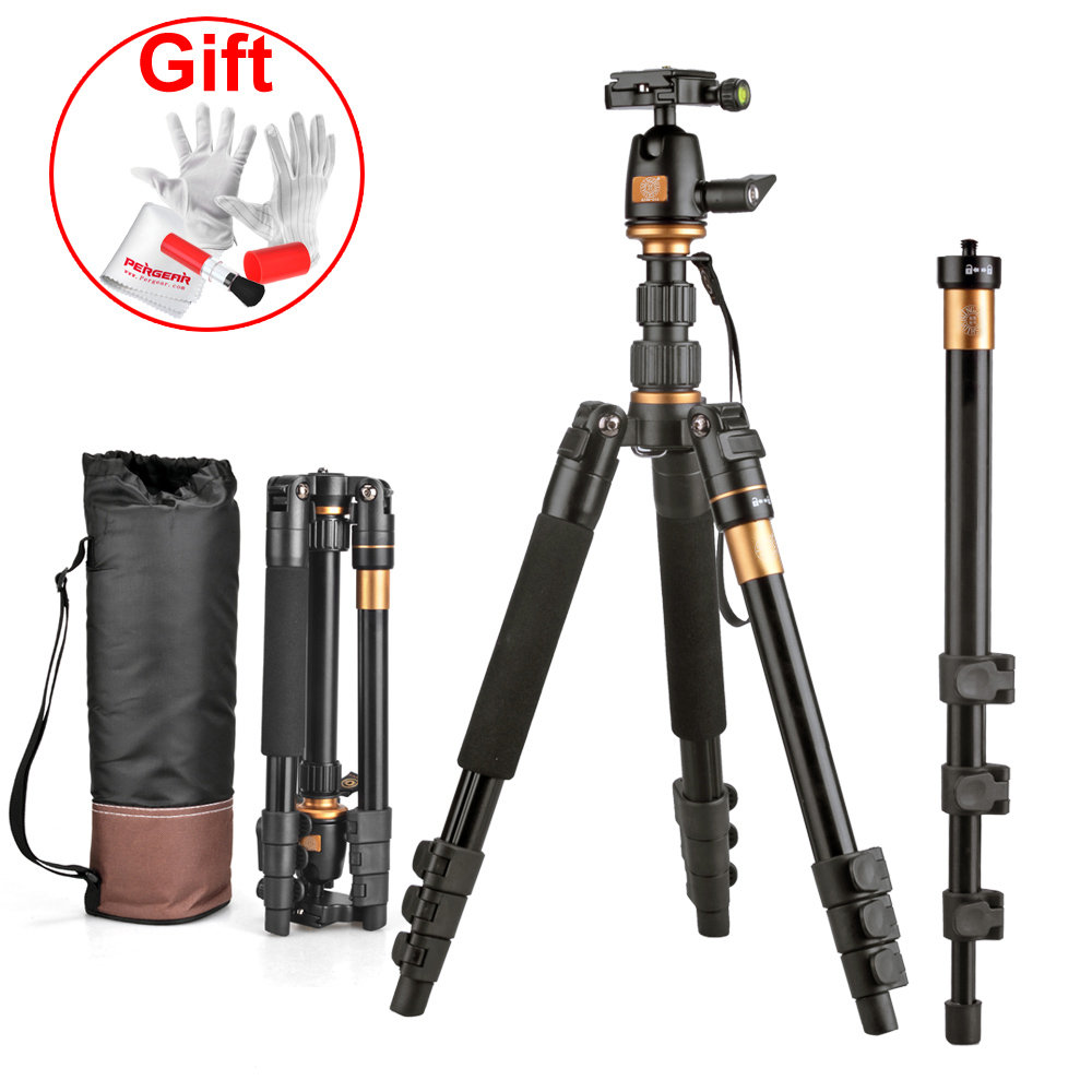TK5 Tripod w/360 Rotaion Ball Head Quickly Release Load 5kg Aluminum Alloy Tripod for Canon Nikon Sony DSLR+3 in 1 Cleaning Kit