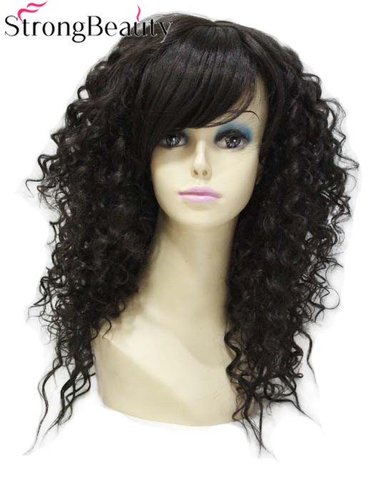 Strong Beauty Synthetic Long Curly Dark Brown Wigs For Women Capless Wig
