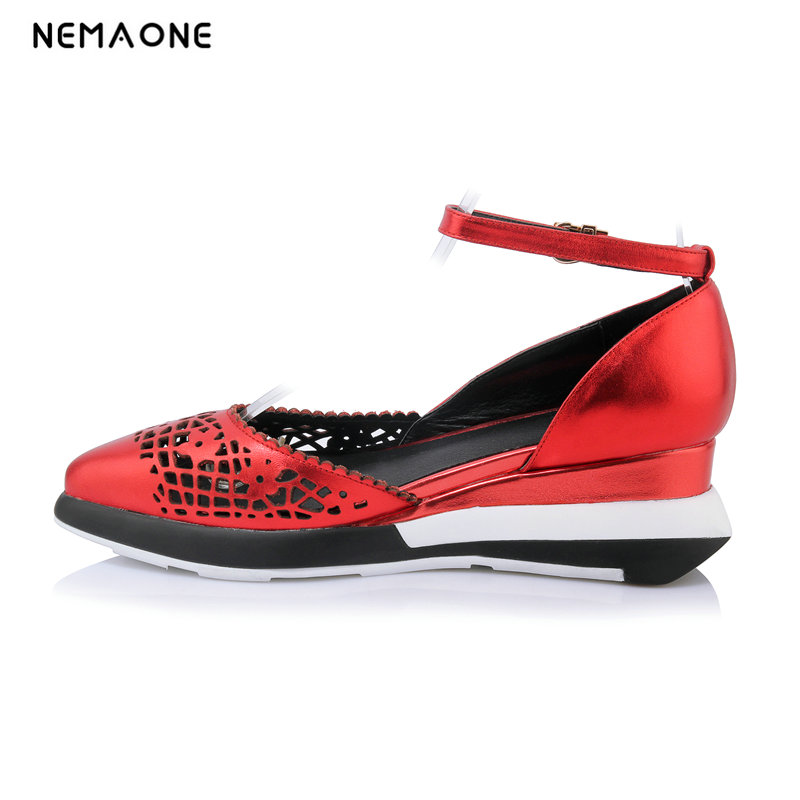 NEMAONE shoes woman Summer sandals Wedges Genuine leather red color Back Strap Buckle strap Free shipping 2016 summer men sandal sale medium b m back strap shoes melissa genuine leather sandals new men s beach shoes free shipping