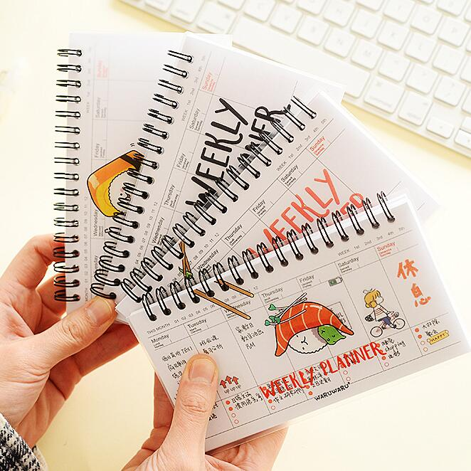 """<font><b>Rice</b></font> <font><b>Roll</b></font>"" Weekly Planner Agenda Scheduler Spiral Coil Bound Any Year Cute Pocket Study Notebook"