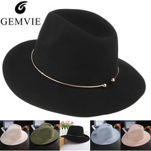 Brand New Women Wool Fedoras Hats With Metal Ring Wide Brim Panama Hat Winter Warm Jazz Caps Elegant Lady Church Hat Sombrero