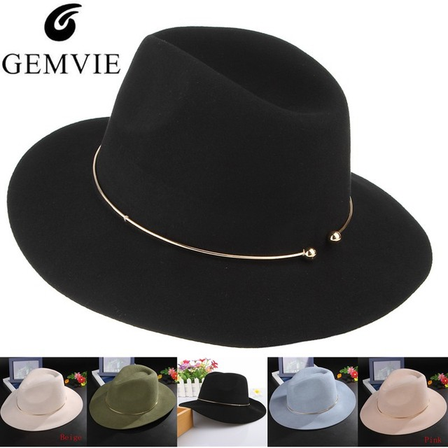 Brand New Women Wool Fedoras Hats With Metal Ring Wide Brim Panama Hat  Winter Warm Jazz 577451d8a6f0