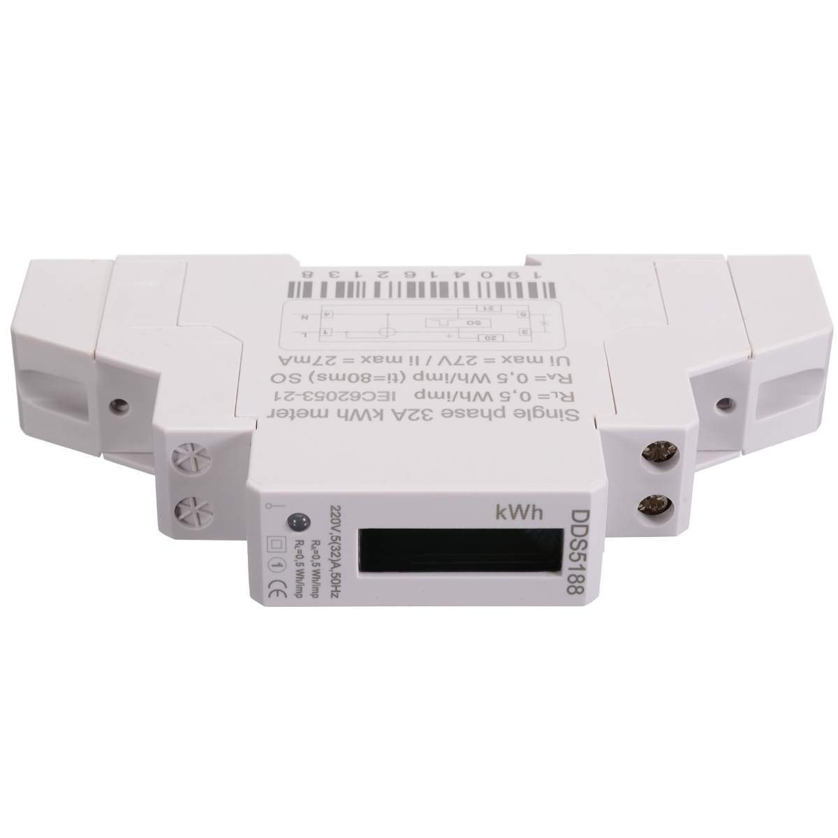 1pc DIN Rail Meter DDS5188 LED AC Meter Electric Meter KWH LCD 5 (32)A For DIN Rail With S0 Port Backlight Guide