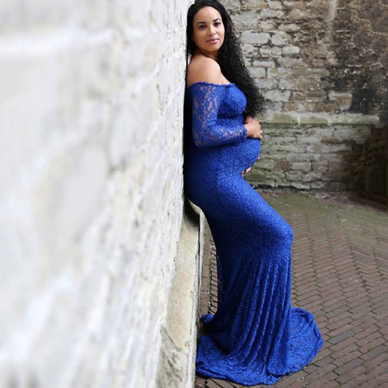 1d133a04cf11d Fashion Maternity Dress for Photo Shoot Maxi Maternity Gown Shoulderless  Lace Fancy Sexy Women Maternity Photography Props
