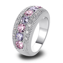 lingmei Exquisite Women Jewelry Round Pink White CZ Diamond Silver Band Ring Size 6 7 8