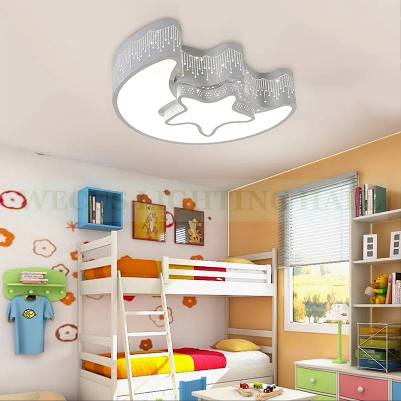 Creative star moon lampshade ceiling light 85-265V 24W led child baby room ceiling lamps foyer bedroom decoration lights