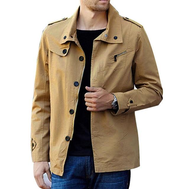 New 2017 Spring Men Coats Jacket Male Blazer Neck Men Casual Jacket Long Jacket Single Breasted Windbreaker Men's Coats