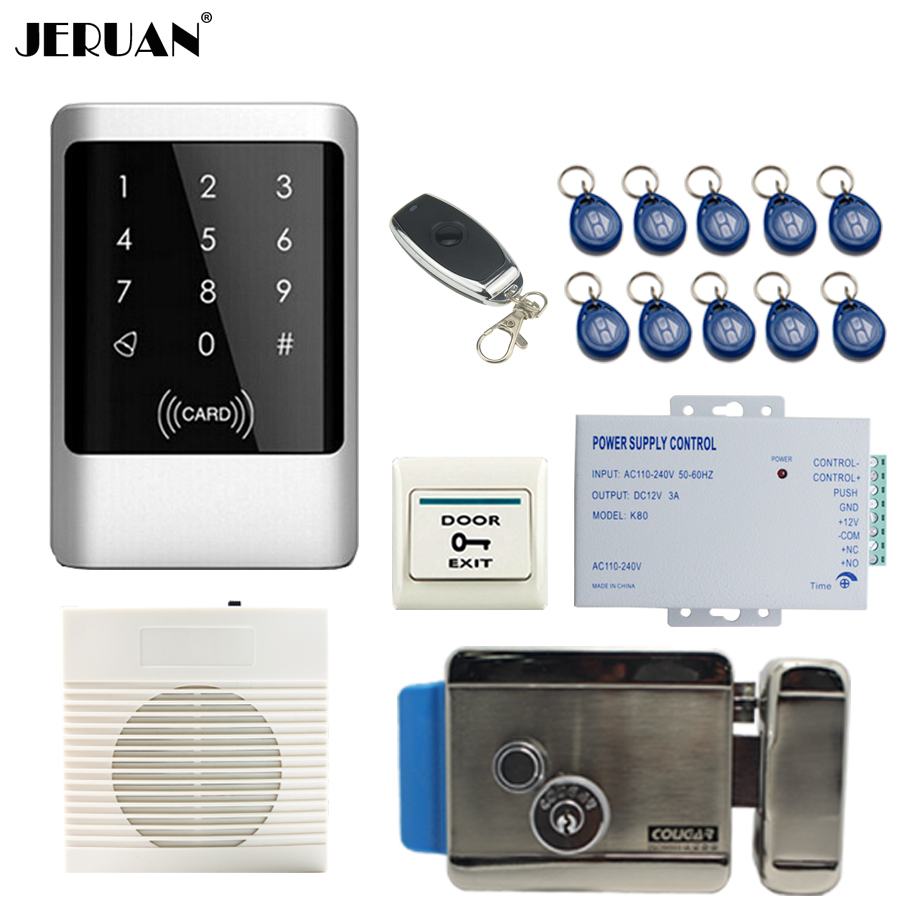 все цены на JERUAN Metal Waterproof RFID Password touch Access Controller system kit+white doorbell+Remote control+In stock Free shipping