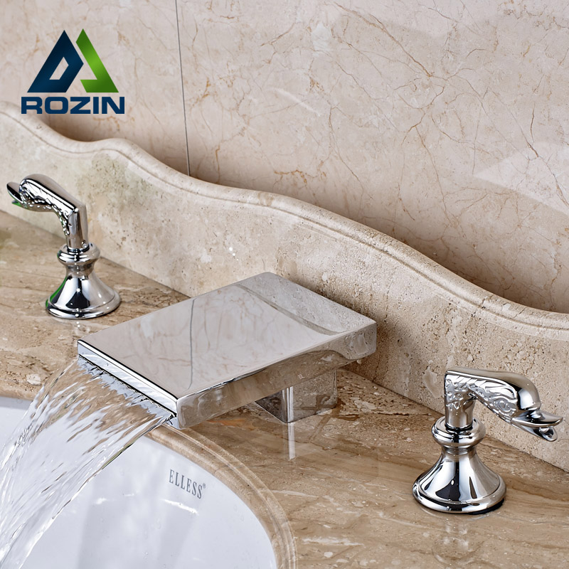 Luxury Chrome Waterfall Bathroom Basin Faucet Deck Mount Widespread Brass Mixer Taps contemporary designed chrome brass waterfall widespread bathroom basin faucet
