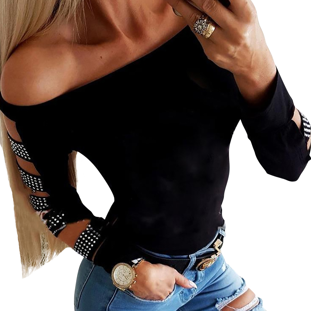 Off Shoulder Blouse Long Sleeve Shirt Slash Neck Hollow Ladies Tops Slim Shirts Sexy Womens Tops and Blouses blusas feminina D30 in Blouses amp Shirts from Women 39 s Clothing