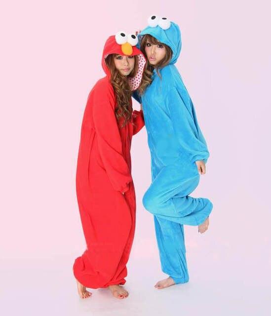 63ec5b5253 Online Shop Blue Cookie Monster Red Sesame Street Elmo Animal Cos Party Pajamas  Onesie for Adults One Piece Pyjamas Hooded Sleepwear