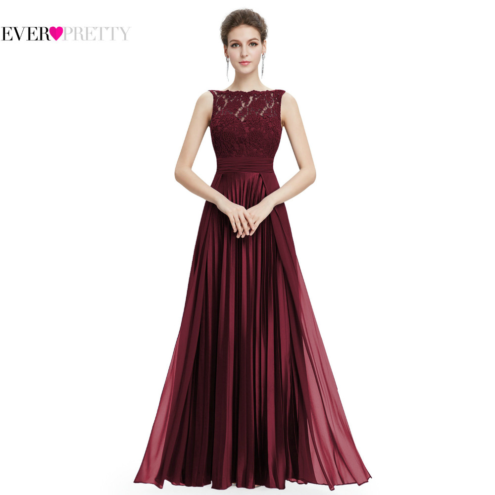 Ever Pretty Evening Dresses Gorgeous Formal Round Neck Lace Long Sexy Red Women Party 2018 EP08352 Special Occasion Party Dress