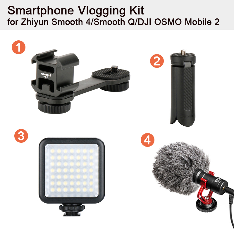 Smartphone Vlogging Kit Tripod For Zhiyun Smooth 4/Smooth Q/DJI OSMO Mobile 2/Feiyu Vimble 2 BY-MM1 Microphone LED Video Light