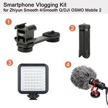 Smartphone Vlogging Kit Stativ für Zhiyun Glatte 4/Glatt Q/DJI OSMO Mobile 2/Feiyu Vimble 2 BY MM1 Mikrofon LED Video Licht