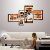 Modern Home Decor Wall Art 4 Panel Pictures Hand Painted Abstract Landscape Oil Paintings on Canvas Tree Sunset Gold Painting