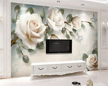 beibehang Custom size Modern minimalist hand-painted oil painting floral European decorative papel de parede wallpaper