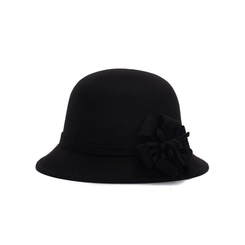 Шляпы шерстяная широкополая котелок шляпа винтажная Шляпа Fedora Регулируемый головной убор пляжная Повседневная Женская - Цвет: black