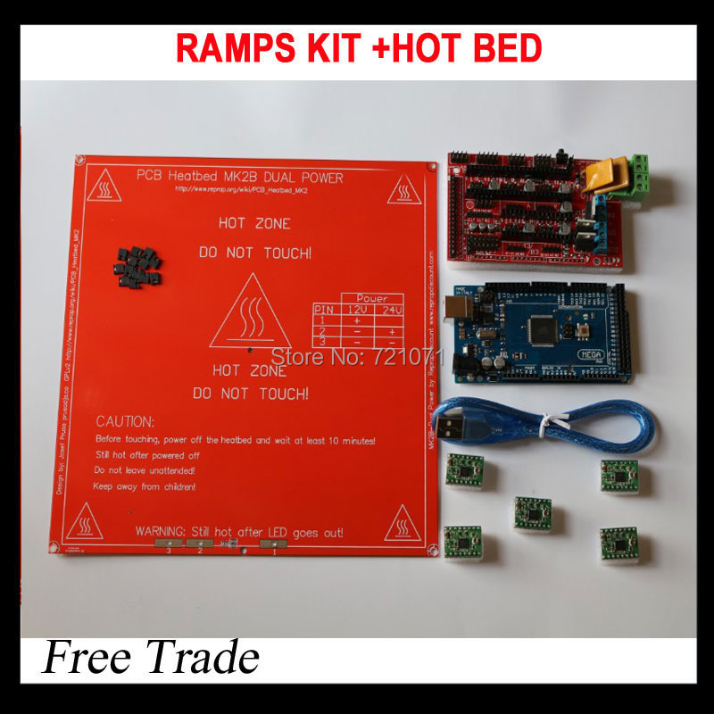 1pcs heatbed +1pcs Mega 2560 R3 + 1pcs RAMPS 1.4 Controller + 5pcs A4988 Stepper Driver Module for 3D Printer kit