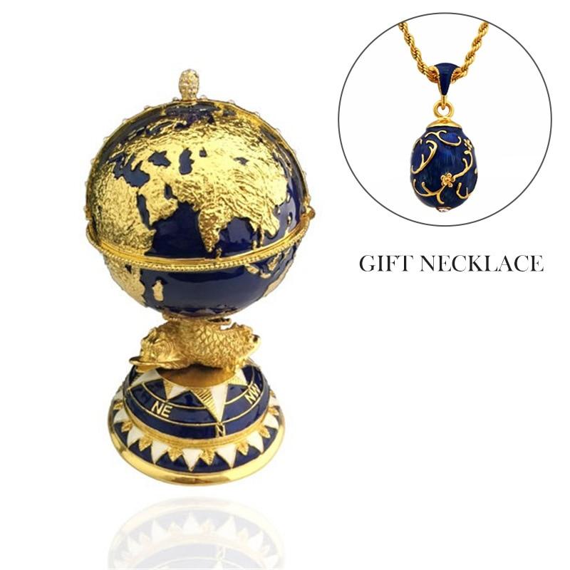 YAFFIL Blue Globe Egg Jewellery Box Beautiful Ornaments 2018 High Quality Luxury Jewelry Box Trinket Stading