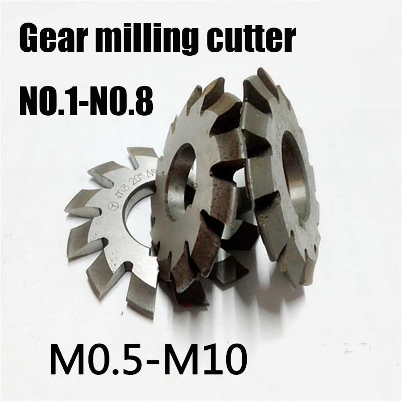 M0.5 M1 M2 M3 M4-M8 Modulus PA20 Degrees NO.1-NO.8   HSS Gear Milling Cutter Gear Cutting Tools Free Shipping