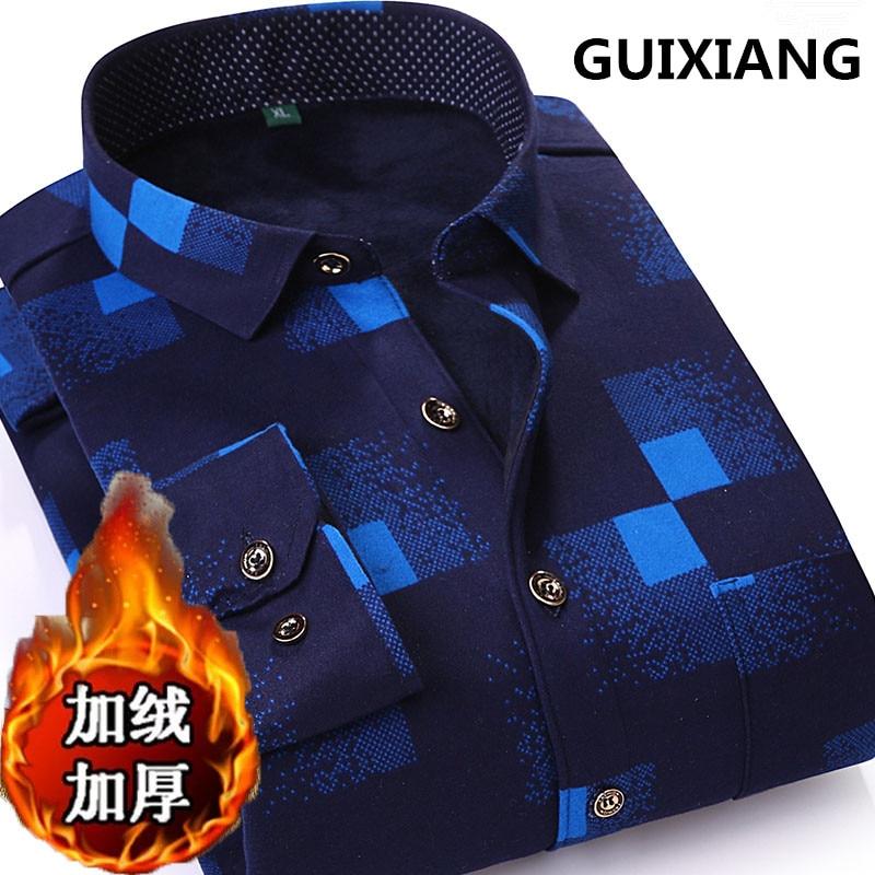 2018 autumn shirt mens casual fashion100% cotton long-sleeved shirts mens high quality thicken warm shirts men size S-4XL
