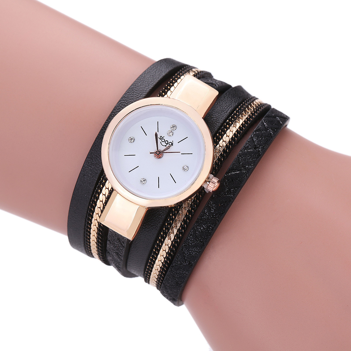 SLOGGI Brand Luxury Watches Women Fashion Gold Bracelet Watch Ladies Casual Leather Branded Quartz Wristwatches montre femme women s watches casual watches leather follow dreams words pattern leather watch women ladies quartz wristwatches montre femme