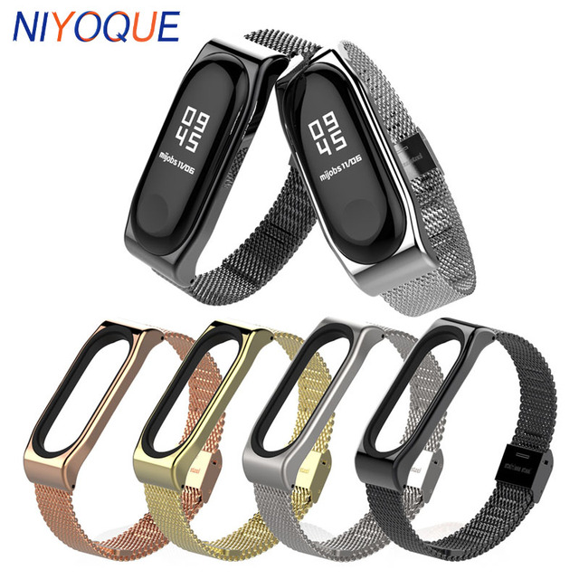 e841650ec NIYOQUE Metal Strap for Xiaomi Mi Band 3 Screwless Stainless Steel Bracelet for  MiBand 3 Smart Band Replace Straps Accessories
