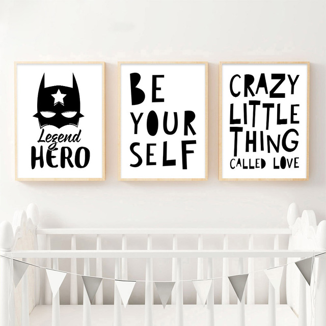 Batman quotes motivational posters and prints canvas art painting black white wall art picture baby room