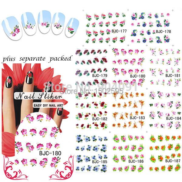HOTSALE 90 Hoja/lot Hermosas Flores Nail Art Calcomanías de Agua agua Pegatina de uñas de arte de uñas accesorios + Separada embalado