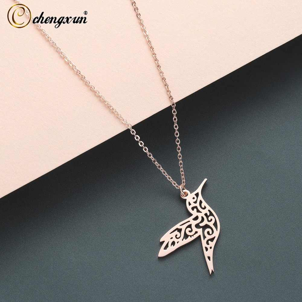 CHENGXUN  Hummingbird Pendant Necklace Stainless Steel Metal for Women Girls Hollow Cute Necklace Jewelry Birthday