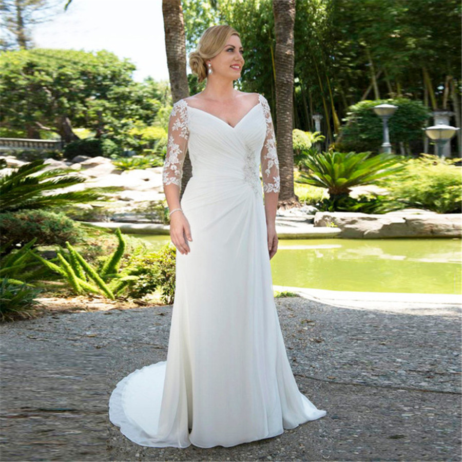 Modest Plus Size Wedding Dresses 2019 Custom Made Beaded V-neck Chiffon Bridal Gown With 3/4 Sleeves Robe De Mariee
