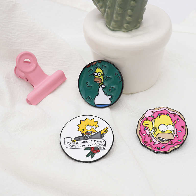 Kehidupan Keluarga Enamel Lisa Homer Jay Marge Kirk Kartun Karakter Meme Bros Pin Hadiah untuk Anak Teman Kreatif Pakaian tas