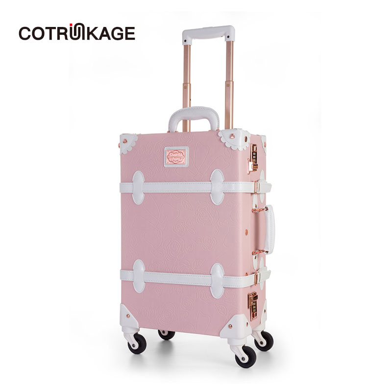 COTRUNKAGE Embossed Floral Pink 20 - 26 Retro Pu Leather Womens Vintage Suitcase Ladies Girl Rolling Trunk Luggage with WheelsCOTRUNKAGE Embossed Floral Pink 20 - 26 Retro Pu Leather Womens Vintage Suitcase Ladies Girl Rolling Trunk Luggage with Wheels