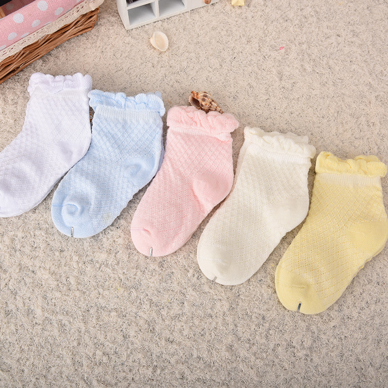 Kids Girls Candy Colors Ruffle Ankle Socks Cotton Socks Baby Socks Mesh