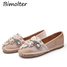 Bimolter Espadrilles Casual Loafers Women Office Round Toe Flats Fisherman Shoes Pink Black Fashion Ladies pearl NC103