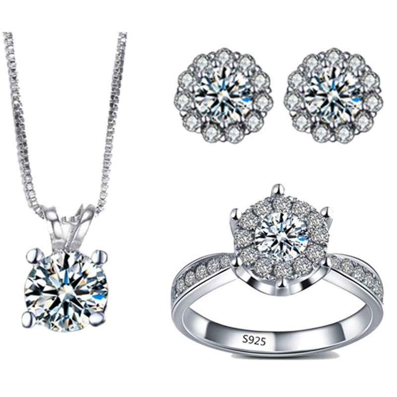 Luxury White Gold color  Fashion Jewelry Sets AAA CZ Rings Earings And Necklaces Sets Bijoux Femme De Marque ASM012
