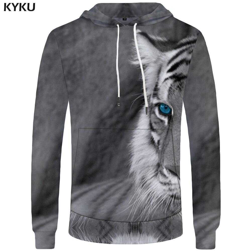 KYKU Brand Tiger Hoodies Men Gray Hoddie Animal Sweatshirt Mens Clothing Sweatshirts Big Size 3d Hoodies Hood 2018 Print Male