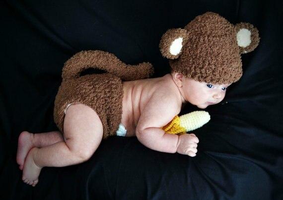 Häkeln Neugeborene Fuzzy Affe Hut und Windelabdeckung Satz mit ...