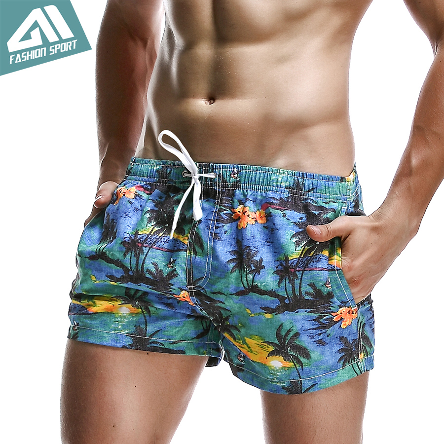 New Breathable Men's   Shorts   Summer Sport Elastic Waist Men's   Board     Shorts   Leisure Pattern Print Surf Beach Workout   Short   PF070