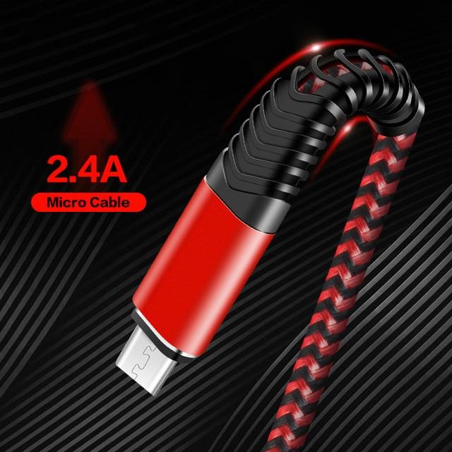 المصغّر usb كابل سريع كابل شحن 2.4A مزامنة البيانات كابل الهاتف المحمول لسامسونج هواوي شاومي LG Andriod المصغّر usb الهاتف